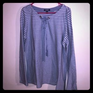 NEW Women's Chaps Blue & White Striped Top Large